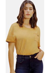 T-Shirt Riccieri Com Bolso Ocre - Amarelo - Feminino - Dafiti
