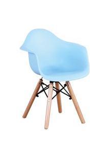 Cadeira Eiffel Inf.C/Br Pp Azul Base Madeira Rivatti