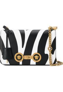 Versace Bolsa Tiracolo Com Estampa De Zebra - Preto