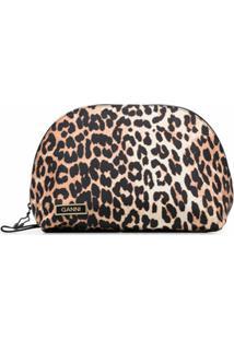 Ganni Clutch Com Estampa De Leopardo - Preto