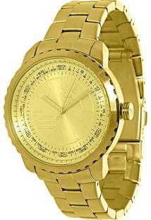 Relógio Lince Feminino Analógico Com Fundo E Pulseira Dourada - Lrgk042L Pkkx