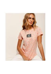 "Camiseta Estampada Floral Good Vibes"" Manga Curta Decote Redondo Rosa Claro"""