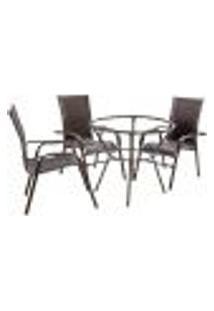 Conjunto 3 Cadeiras E Mesa Alta Sem Tampo Bela, Jardim, Fibra Sintetica Pedra Ferro