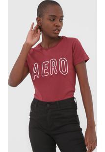 Camiseta Aeropostale Logo Vinho - Kanui