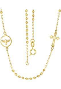 Gargantilha Prata Mil Bolinha Com Cruz E Espírito Santo Dourado