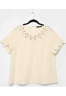 Blusa Lemise Plus Size Ilhós Feminina - Feminino-Bege