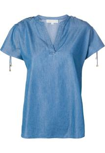 Michael Michael Kors Blusa Jeans Com Babados Nas Mangas - Azul
