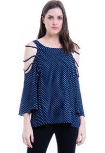 Blusa 101 Resort Wear Tunica Crepe Ombros Vazados Azul Bolinhas Brancas - Azul - Feminino - Dafiti
