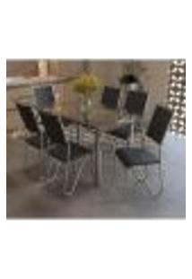 Conjunto Mesa Elba De Vidro Com 6 Cadeiras Londres Kappesberg Cromado/Preto