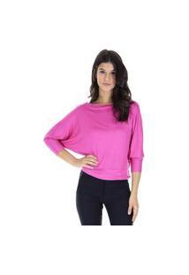 Blusa Decote Canoa Malha Lisa Pink