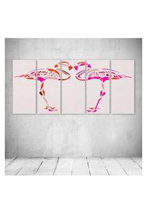 Quadro Decorativo - Flamingos Rosa - Composto De 5 Quadros