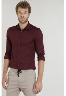 Camisa Masculina Slim Manga Longa Vinho