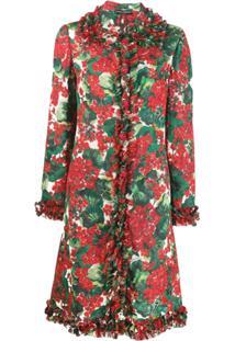 Dolce & Gabbana Casaco Com Babados E Estampa Floral - Vermelho