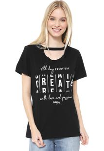 Camiseta Coca-Cola Jeans Choker Create Preta