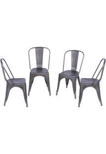 Or Design Jogo De Cadeiras De Jantar Retrã´ Bronze 4Pã§S