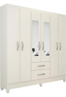 Guarda Roupa Real 6 Portas C/Espelho Branco Brilho Atualle