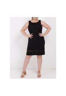 Vestido Médio Plus Size Feminino Preto