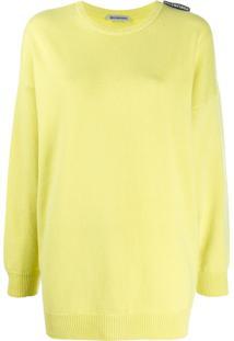 Balenciaga Suéter Oversized Decote Careca Com Logo - Amarelo