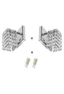 2 X Arandela De Cristal Legitimo Clearwall Com Lâmpadas 6000