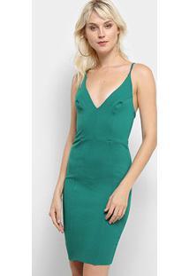 Vestido Colcci Tubinho Curto Decote Alças - Feminino-Verde Claro