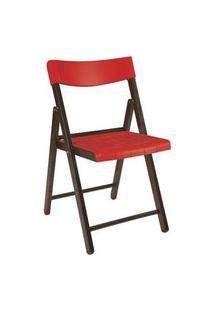 Cadeira Tramontina Potenza Madeira Jatoba Tabaco Com Vermelho Vermelho