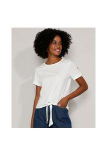 Camiseta Feminina Com Nó E Martingale Manga Curta Decote Redondo Off White