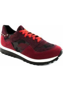 Tênis Sneaker Sapato Show Camurça 16240 Feminino - Feminino-Bordô