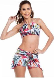 Shorts De Praia Maré Brasil - Feminino-Branco