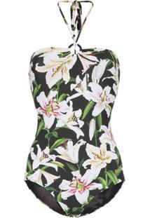 Dolce & Gabbana Maiô Frente Única Floral - Preto