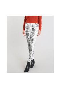 Calça De Sarja Feminina Skinny Estampada Animal Print Off White