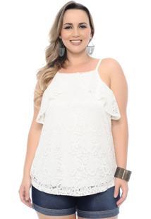 Blusa Arimath Regata Plus Size Balada Branco