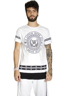 T-Shirt Wosmock Joy Alongada - Feminino-Preto+Branco