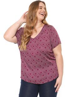 Blusa Cativa Plus Estampada Roxa