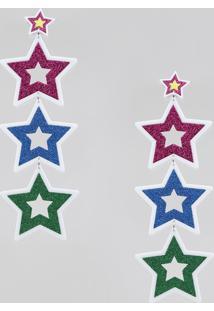 Brinco Feminino Pride Longo Estrelas Com Glitter Branco