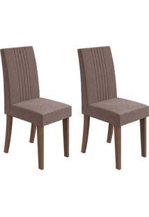 Conjunto De Cadeiras De Jantar 2 Rock Linho Imbuia E Chocolate