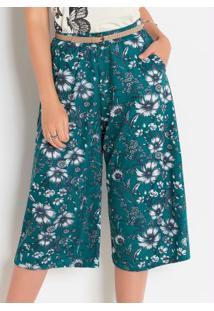 Calça Pantacurt Floral Com Bolsos Funcionais