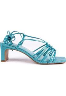 Sandália Salto Baixo Di Valentini Núbia Napa Metalizado Amarração Feminina - Feminino-Azul