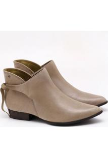 Ankle Boot Couro Bege Taupe