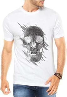Camiseta Criativa Urbana Caveira Estilizada - Masculino-Branco