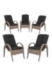 Cadeiras 5Un P/ Jardim Lazer Edicula Varanda Descanso Fibra E Tramas Napoli Plus Argila A37