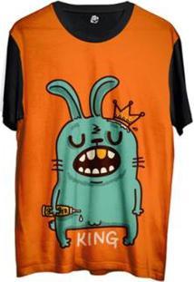 Camiseta Bsc Desenho Rei Coelho Sublimada Masculina - Masculino-Laranja