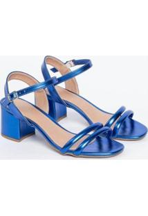 Sandália Salto Baixo Metalizada Macia Fivela Casual Conforto Not-Me Feminina - Feminino-Azul Escuro
