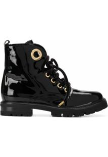 Agl Ankle Boot Com Detalhe De Ilhoses - Preto