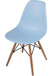 Cadeira Polipropileno Com Pés De Madeira 82X47Cm Azul