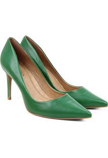 Scarpin Couro Carrano Salto Alto Metalizado - Feminino-Verde Escuro