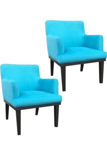 Kit 02 Poltronas Decorativa Vitória Para Sala E Recepção Suede Azul Tiffany - D'Rossi