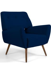 Poltrona Decorativa Fixa Pã©S Palito Melli Veludo Azul Marinho B-287 - Lyam Decor - Azul - Dafiti