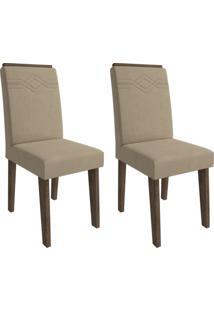 Conjunto Com 2 Cadeiras De Jantar Taís I Suede Marrocos E Caramelo