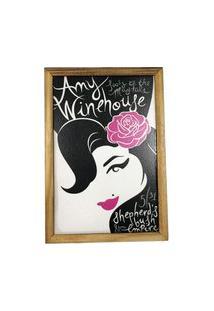 Quadro Decorativa Quarto Sala Amy Winehouse Madeira Preto
