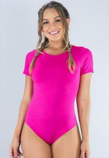 Body Cavado Manga Curta Estampado Blusa Collant Feminino - Feminino-Rosa